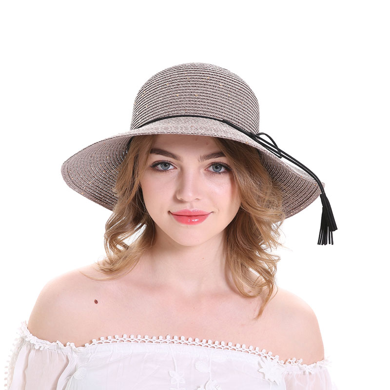 ce23ca9b1 MEEFUR Summer Beach Hats Rope Solid Bucket Paper Straw Sun Hat Sequins  Foldable Wide Brim UV Protection Cap for Women 7004-in Sun Hats from  Women's Clothing ...