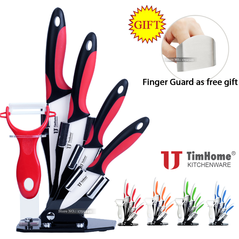 Timhome Brand 3 4 5 6 inch Quality Knife Ceramic Knife Sets and Stand with Free