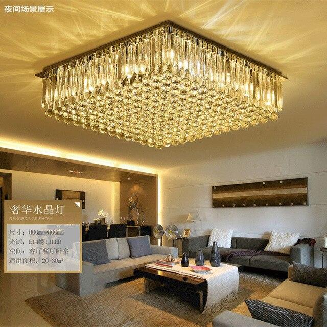 Cristal Lampes Salon Lampes Rectangulaire Lampe Moderne Simple Led