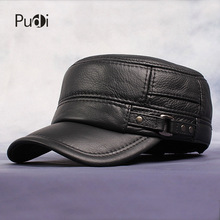 Pudi Cow Leather Flat Peak Baseball Cap&Hats for men winter warm army hat adjustable ear flat  black brown cap HL064