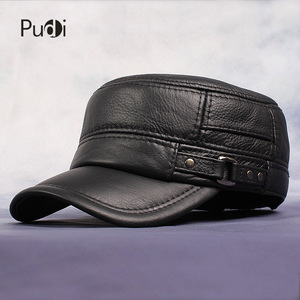 Image 1 - Pudi Cow Leather Flat Peak Baseball Cap&Hats for men winter warm army hat adjustable ear flat  black brown cap HL064