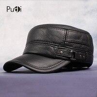 Pudi Cow Leather Flat Peak Baseball Cap&Hats for men winter warm army hat adjustable ear flat black brown cap HL064