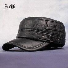 Pudi skóra bydlęca płaski szczyt czapka z daszkiem i czapki dla mężczyzn zimowy ciepły kapelusz wojskowy regulowany ucho płaski czarny brązowy czapka HL064
