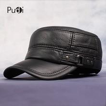 Мужская бейсбольная Кепка Pudi, черная или коричневая Регулируемая Кепка в стиле милитари, из коровьей кожи, на зиму, HL064