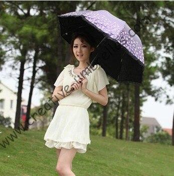 Superlight parasol, 100%, protetor solar UPF> 50 +, ladies'parasol, 8 k costelas, preto revestimento de prata, bolso parasol, UV proteger, em arco lacing