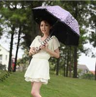 Parasol superligero, protector solar 100%, UPF> 50 +, parasol para damas, costillas de 8 k, revestimiento de plata negra, parasol de bolsillo, protección UV, cordón arqueado