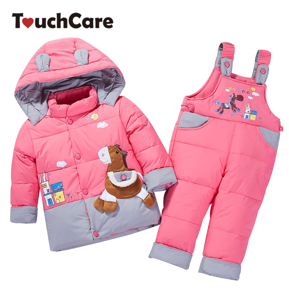 Touchcare Baby Winter Warm Down Clothes Set Horse Patterning Boy Girl Jacket Pants Kids Outerwear Hooded Coat Trousers Snowsuits