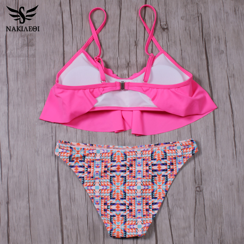 NAKIAEOI 2018 New Sexy Bikinis Women Swimsuit Push Up Swimwear Bandage Print Brazilian Bikini Set Ruffle Bathing Suits Swim Wear 5