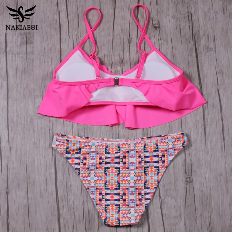 NAKIAEOI 2018 New Sexy Bikinis Women Swimsuit Push Up Swimwear Bandage Print Brazilian Bikini Set Ruffle Bathing Suits Swim Wear 5
