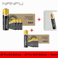 NANFU 40 Pieces Alkaline Battery with Battery Tester(20 Pcs AA Batteries + 20 Pcs AAA Batteries) 2100mAh 950mAh 1.5V 2A 3A Kit