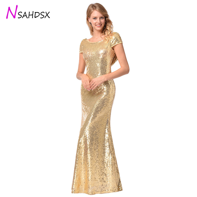 Elegant Sexy Gold Sequined Party Long Dress 2018 summer Solid Backless Sequin  New Women Maxi Dresses a682ce5d7988