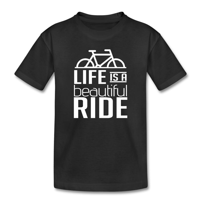 Fashion Logo Printing T Shirts MenS Short Kids Biker Life Is A Ride O-Neck Fashion 2018  ...