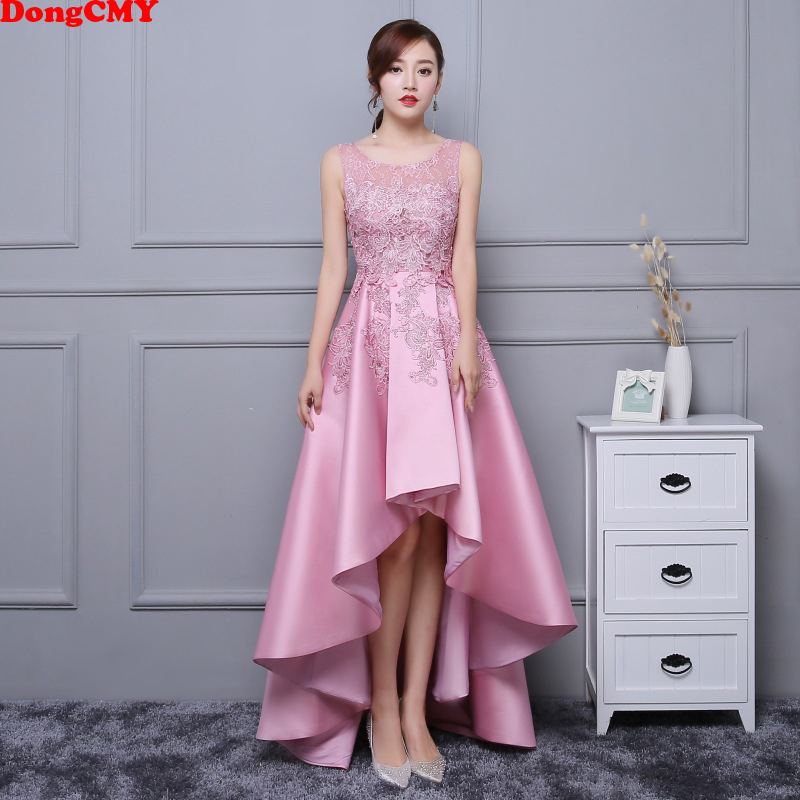 DongCMY Asymmetrical Prom Dress Vestido Lace Satin Dress Elegant Formal Party Dress Gowns