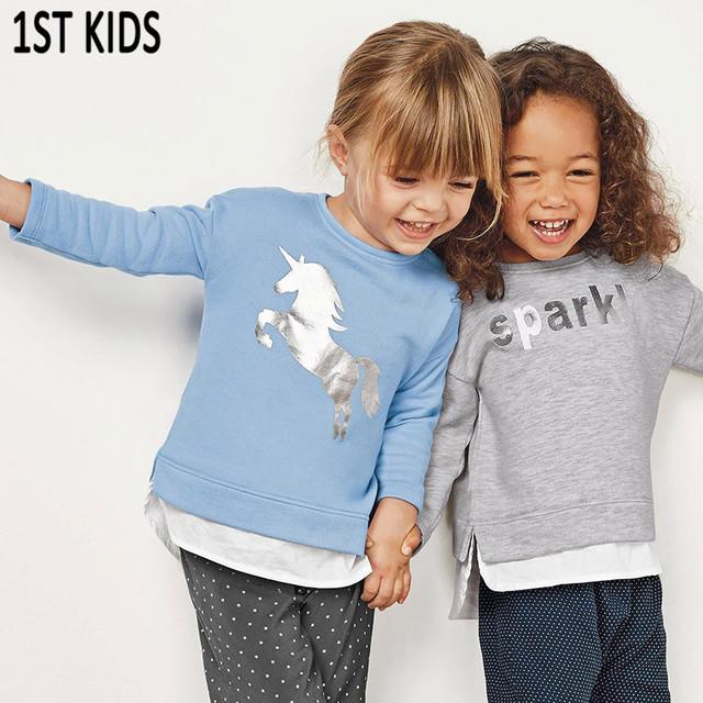 Choses 2018 Autumn Winter Kids Clothes Long Sleeve T Shirts Cartoon Animal Horse Boys Sweatshirts Girls Baby Tees Tops DBT079