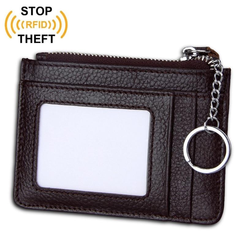 RFID Blocking Genuine Leather Card Holder ID Card Case Money Organizer Men Mini Wallets Coin Pocket Credit Card Key Purses