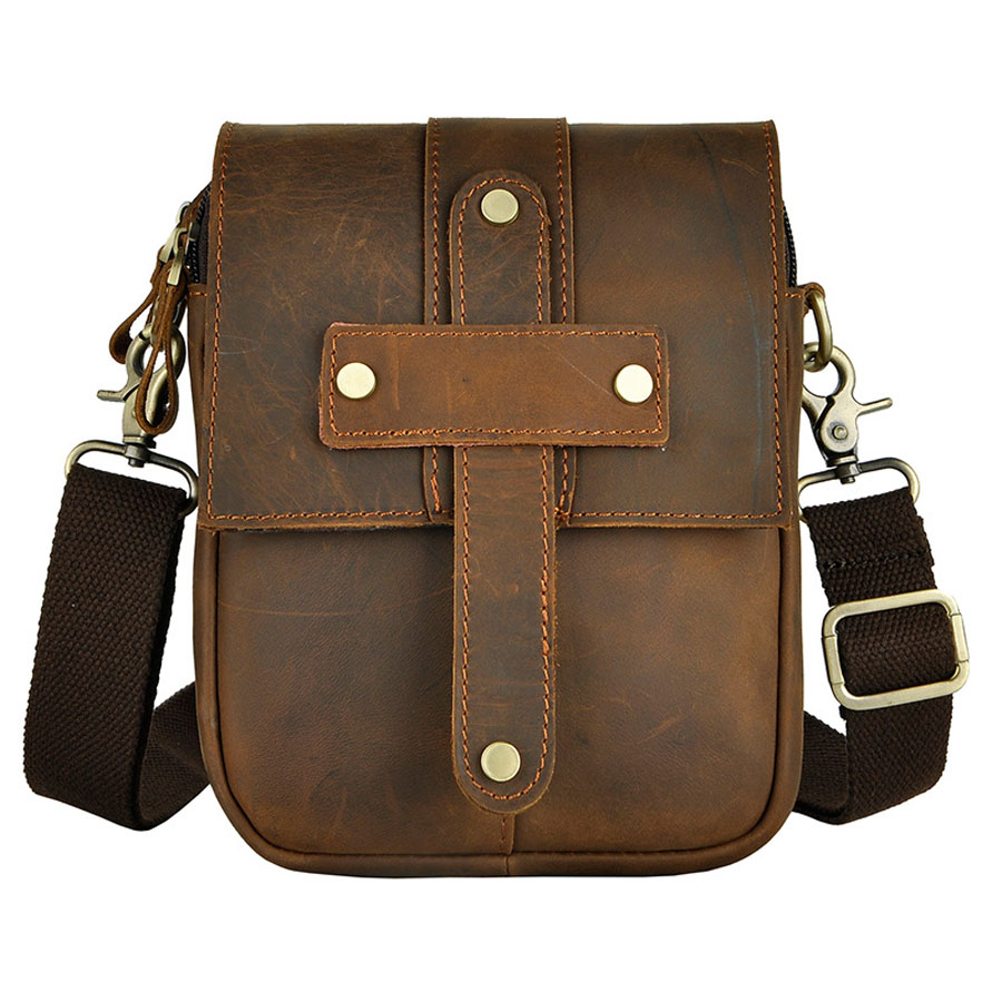 New Men Crazy Horse Genuine Leather High Quality Retro Crossbody Messenger Shoulder Bag Belt Waist Pack Phone Bag wallet crazy horse oil wax genuine leather shoulder bag for men casual messenger bags male hip bum loops belt 9 inch fanny waist pack