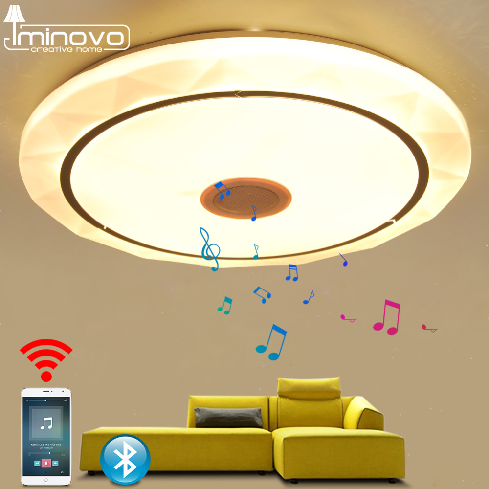 Iminovo LED Music ceiling light  Bluetooth Speaker Remote Contro Fixture Modern lamp 36W living room dinning room kitchen