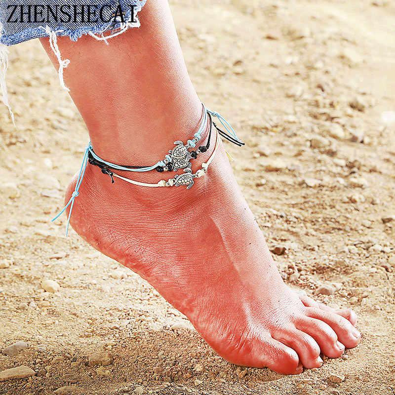 2018 Estilo Vintage búho pulsera verano playa joyería tobillo negro/Blanco/azul colores cuerda cadena tobillo para mujer accesorios ns37