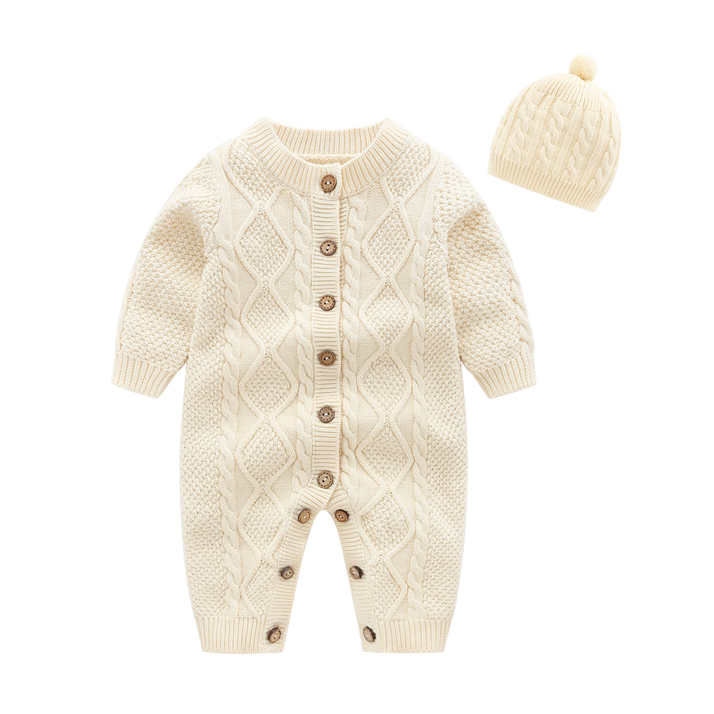 new born baby clothes,Beige Baby Knit   Romper   with Hat, baby onesie baby winter jumpsuit baby costume
