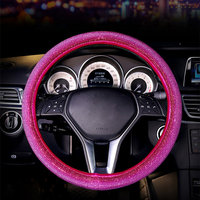 Full Crystal Rhinestones Steering Wheel Cover Diamond Women Car Steering Wheel Auto Wheels Case For Gilrs Pink Accessories