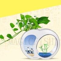 Hot Sale Ecology Mini Nano Fish Tank Office Aquarium Home Devoration Mini Fish Tank Integration Filter LED Light System 3L 4.5L