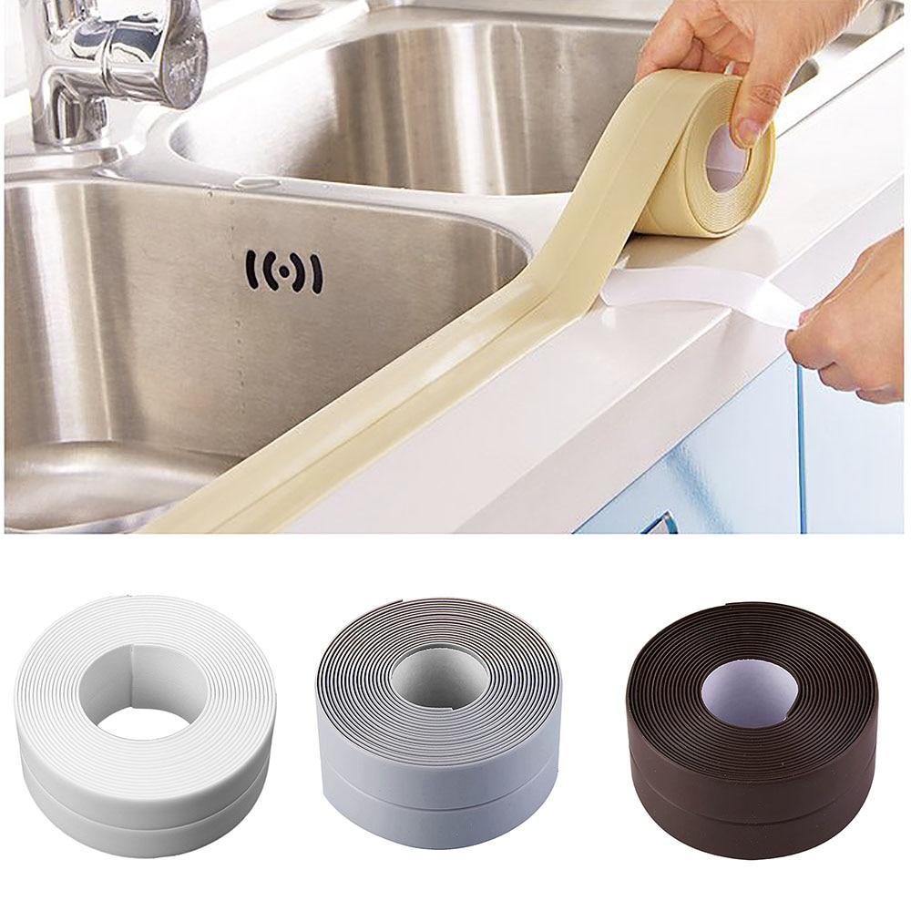 Self Adhesive Toilet Bathroom Wall Corner Seal Tape Sink Edge Sealing Strip
