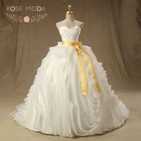 Real Photo Luxury Strapless Sweetheart 3D Ruffled Organza Wedding Ball Gown With Gold Sash Lace Up
