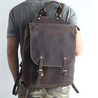 Vintag из натуральной коровьей кожи рюкзак для ноутбука Для мужчин из натуральной кожи рюкзаки мужской рюкзак Для женщин элегантный дизайн шк