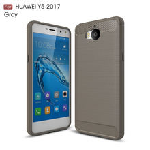 Etui Huawei Y6 2017 Case Silicon for Y5 Y3 Cover Soft Carbon Fiber Brushed Hoesje Fundas Movil Coque