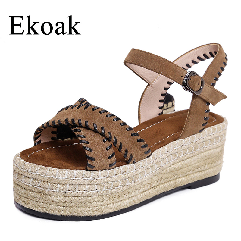 Ekoak New 2018 Genuine Leather Women Gladiator Sandals Summer Women Shoes Fashion Wedges Platform Sandals Shoes Woman woman fashion high heels sandals women genuine leather buckle summer shoes brand new wedges casual platform sandal gold silver