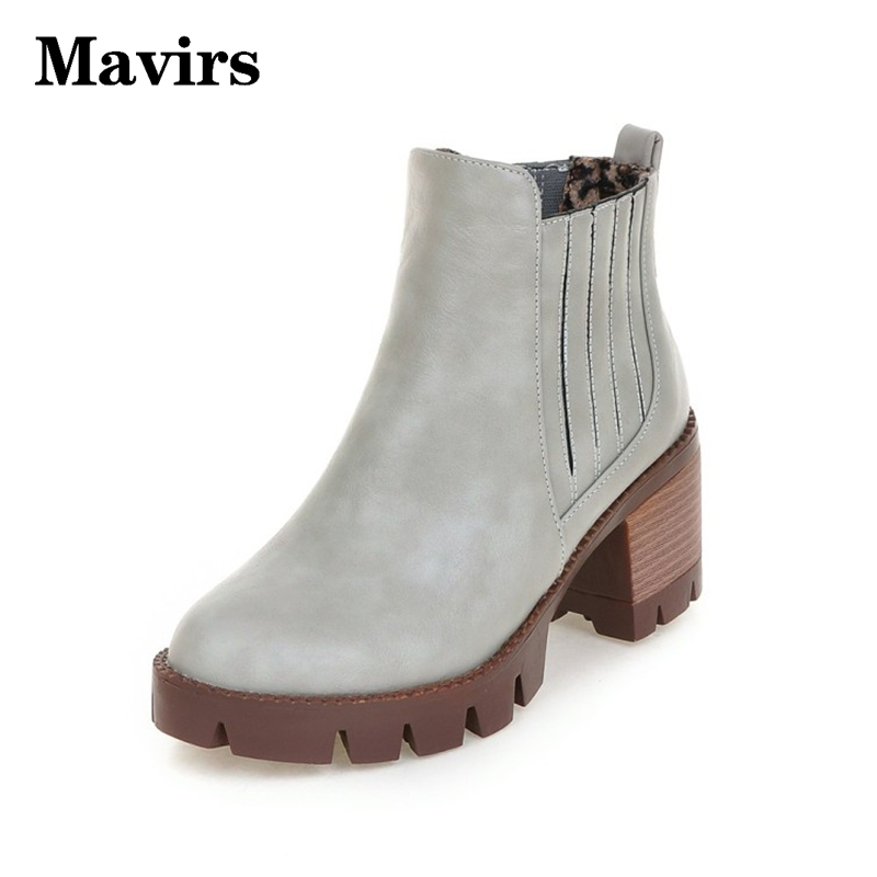 ФОТО MAVIRS New 2017 Med-heel Women Boots Square Heel Ankle Boots Shoes Women Martin Boots Ladies Casual Shoes