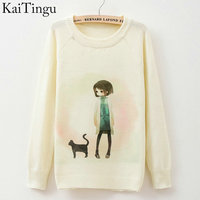 KaiTingu 2015 New Fashion Autumn Winter Women Long Sleeve Girl Cat Print Knitted Sweater Casual Jumper