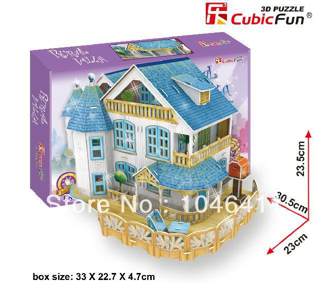 BURAL VILLA with LED light CubicFun 3D educational puzzle Paper & EPS Model Papercraft Home Adornment for christmas gift petronas towers cubicfun 3d educational puzzle paper