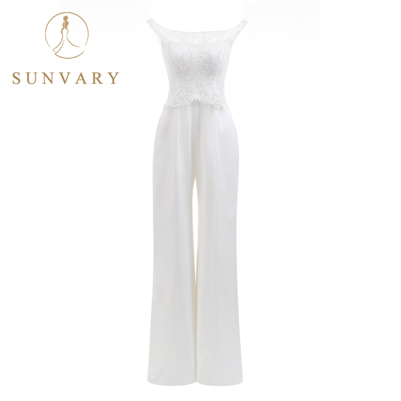 Sunvary Custom Hottest New Bateau Jumpsuits Wedding Dresses Sleeveless White Lace Chic Silhouette Pantsuits For Bridal Wedding