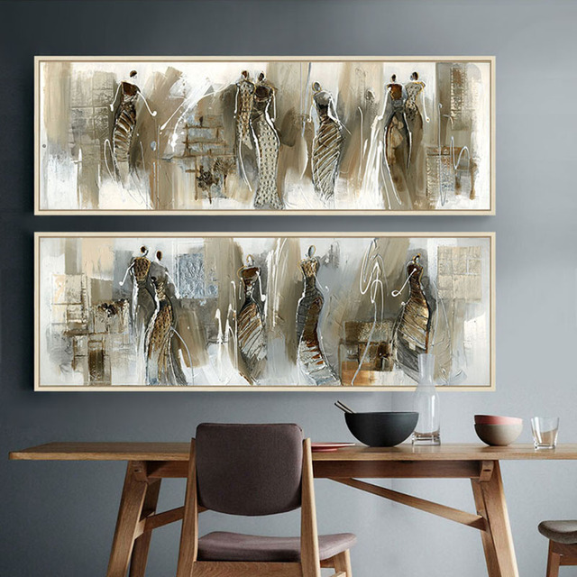 African Art Abstract Painting Horizontal Rectangle Long Posters And Prints Canvas Wall Pictures For Living Room