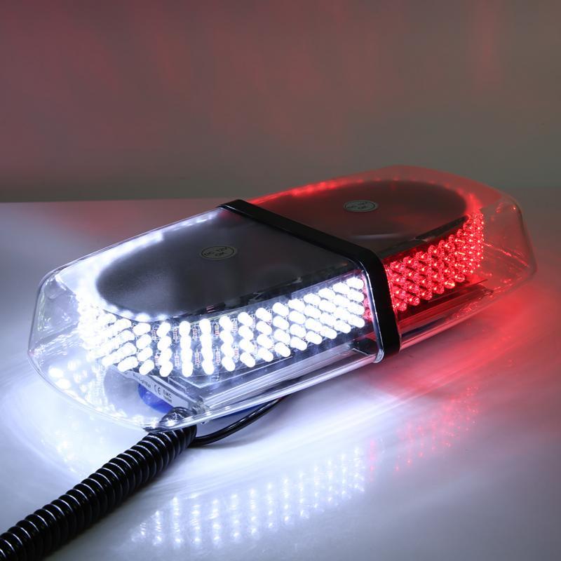 240 LED 12V White & Red Car Roof Police Fireman Emergency Warning Flashlight 7 Flash Modde Car Roof Strobe Light 1set 240 led car roof flashing strobe emergency light dc 12v 20w truck police fireman warning lights blue