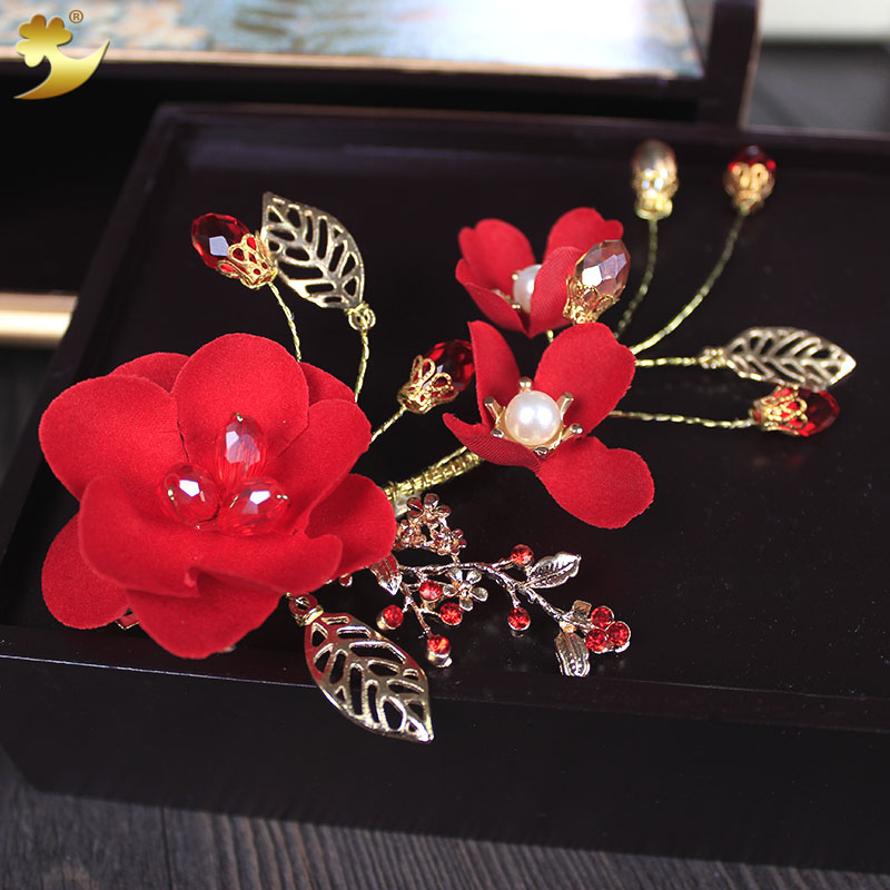 XinYun Wedding Accessories Gold Plated Leaves Hair Jewelry Classic Red Flower Hair Ornaments Crystal Pearl Women Hair Clips ...