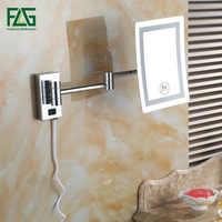 Flg quadrado conduziu a luz do banho espelhos 8 dupla maquiagem espelho 1x3x lupa de cobre cosméticos banheiro dupla face P169-01C