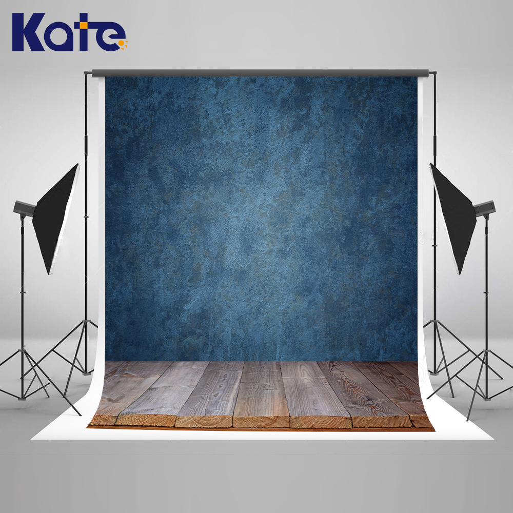 Kate Wood Wall Backdrop Retro Blue Wall Backgrounds Indoor Wedding Photography Backdrops Customize Seamless Photo For Studio