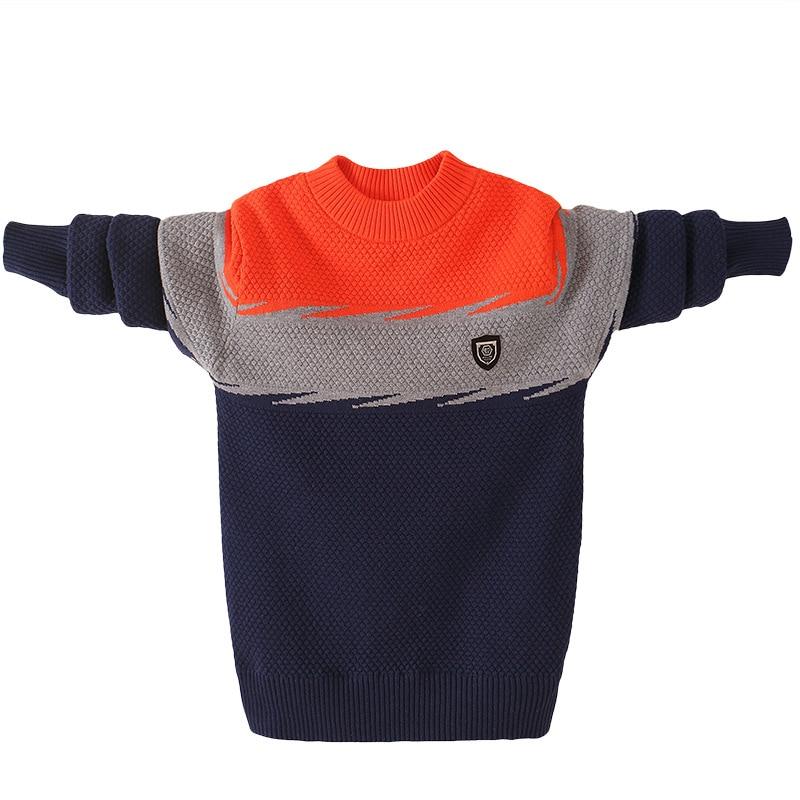 Зимний Детский свитер, хлопковая одежда, свитер для мальчиков, пуловер с круглым вырезом, зимняя теплая детская одежда