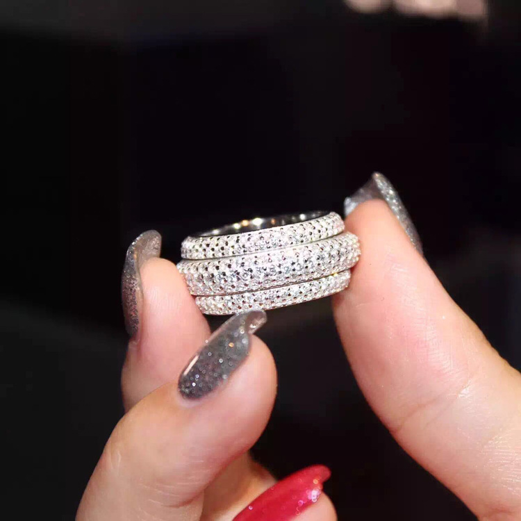 2018 nouveauté Top vente tout nouveau Pave complet 5A zircone superbe bijoux 925 en argent Sterling femmes mariage bague cadeau - 3