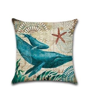 Image 5 - CAMMITEVER Cotton Linen Pillow Cover Seaworld Octopus Sea Turtle Hippocampus Cushion Cover Home Decorative Pillow Case Blue