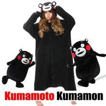 Kumamoto Kumamon Urso Sleepsuit Pijamas Animal Dos Desenhos Animados Preto Onesie Adulto Unisex Pijama Cosplay Pyjamas