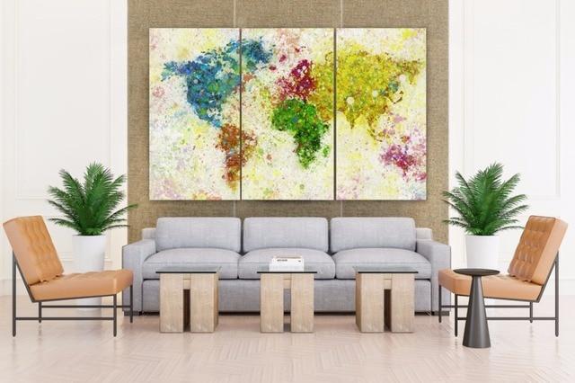 Paint Splash World Map Multi Panel Canvas Wall Art