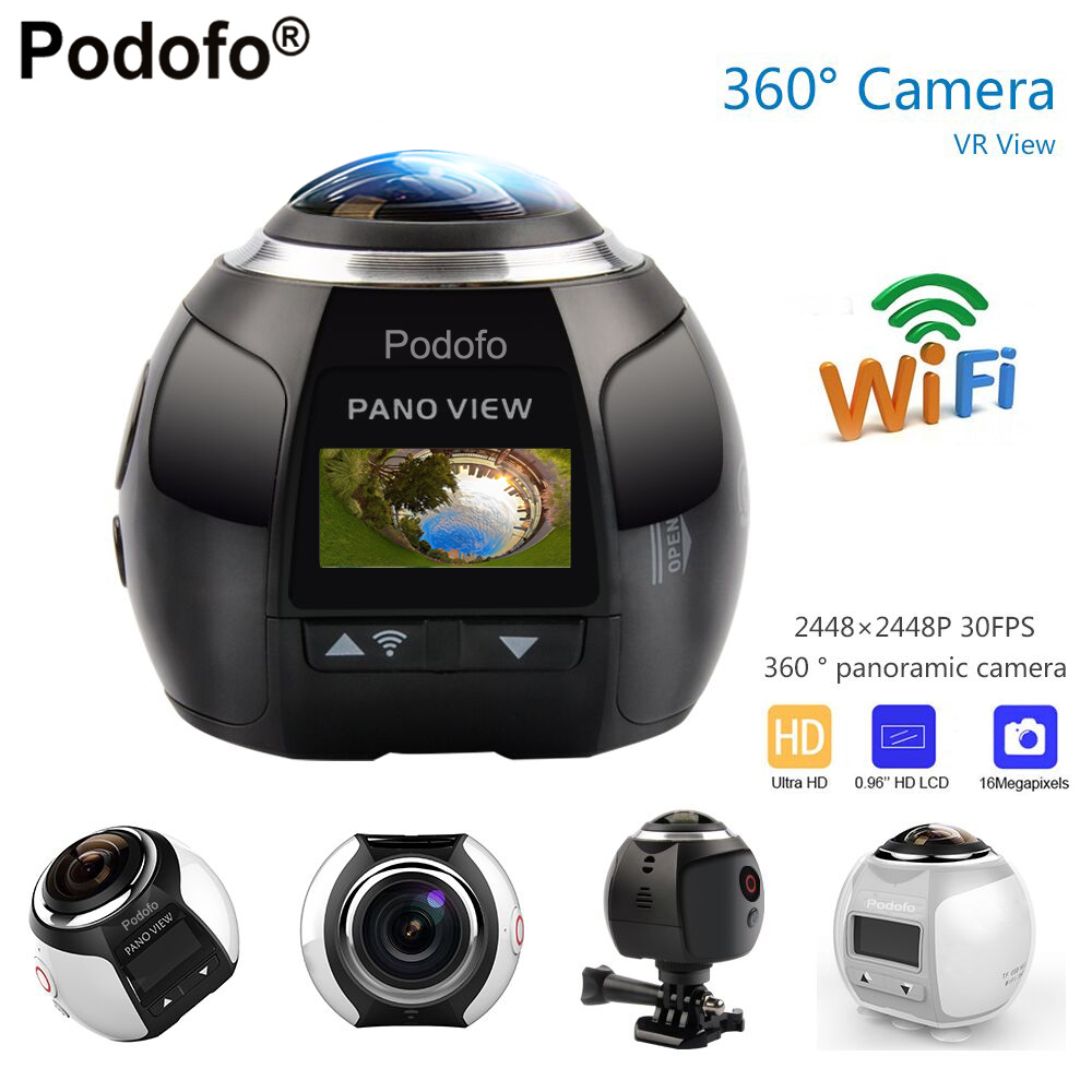 Podofo 360 Camera HD Ultra Mini Panoramic Camera WIFI 16MP 3D Sports Camera Driving VR Action Camera Video Cam Waterproof 30m 360 camera 4k ultra hd panoramic action camera 1080p 3d fisheye lens vr camera wifi mini sports video camera deportiva kamera