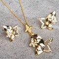 Nobre Esmalte Esmalte Borboleta Inseto Africano Conjuntos de Jóias de Cristal Austríaco Conjunto de Jóias Mulheres Animais Traje Dubai Acessório