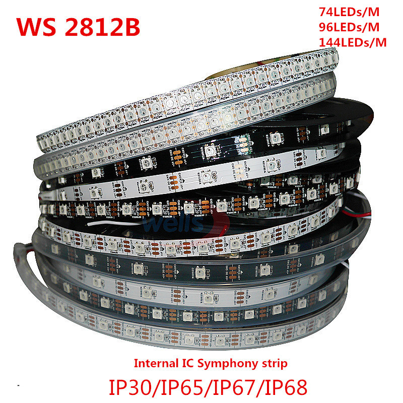 WS2812B 1/5 Meter IP68 Full Color Symphony 74 96 144 LED Pixel/M SMD 5050 Built-in IC Programmable Addressable 5V Strip Lights