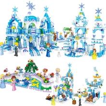 NEW Elsa Magical Ice Castle Princess Fountain Garden Girls Building Block Sets Bricks Model Classic Compatible Legoings Friends