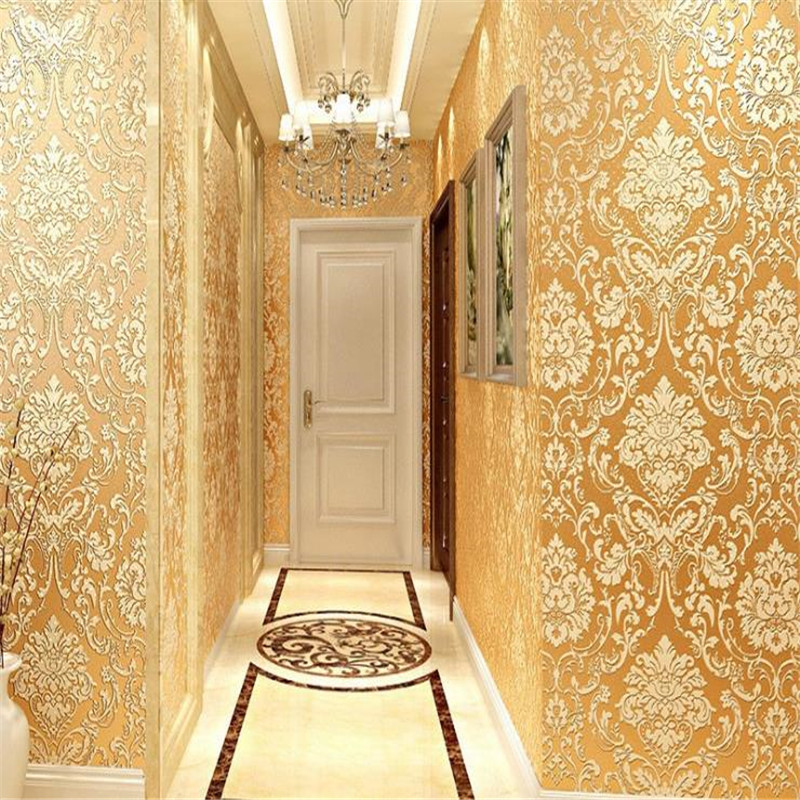 European Luxury Glitter Metallic Wallpapers Rolls Classic Gold Damask  Floral Wallpaper Modern 3D Textured Wall Papers Coverings