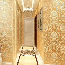 European Luxury Glitter Metallic Wallpapers Rolls Classic Gold Damask  Floral Wallpaper Modern 3D Textured Wall Papers Coverings modern luxury gold metallic wallpaper vinyl textured damask purple wall paper roll wall coverings for bedroom living room 10m